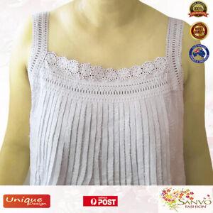 100% Cotton Nightdress New Ladies BNWT Sleepwear White