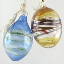 BOULES DE NOËL VINTAGE (x2) Verrerie GLASBLAREI BERNSCHEIN STADE Christmas Balls