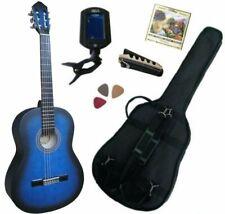 Pack Guitare Classique 4/4 Bleue Mat Avec 5 Accessoires
