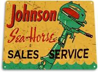 Johnson Sea-Horse Outboard Motors Marina Boat Vintage Retro Tin Sign