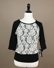 A. Byer Women's Juniors Knit Top 3/4 Sleeve Lace Front Black White Sz Medium