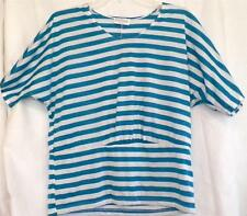Size Petite Medium & Large Turquoise White Striped Knit Top PM PL New Tags
