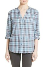 Soft Joie Blue Plaid Button Up Shirt Small