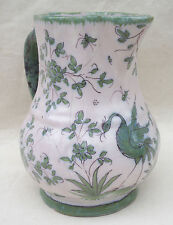 French Provence Faience Martres Tolosane Green White Pitcher Bird Flowers 19 C