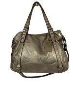 AUTH COACH 15276  Embossed Studded Leather Alex Satchel Bag BRONZE Metallic EUC