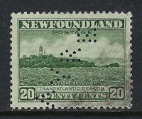 Newfoundland Perfin A12-AYRE (St. John's): Scott 196, 20c Cape Race, Position 2