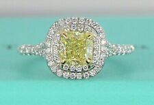 $15,500 Tiffany & Co 1.36ct Soleste Cushion Fancy Yellow Diamond Engagement Ring