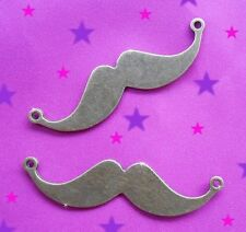 5 CONNETTORI CIONDOLI BAFFI COLLANE BRONZO 49X13 MM MUSTACHE CHARMS
