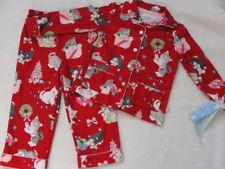 NWT Girls Christmas 2p Pajamas Pjs Flannel Red NEW 18 m