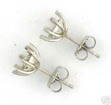14k White Gold 4CT TW Stud Earrings Mount 2Carat 8MM Each 8 Prongs Push Bk