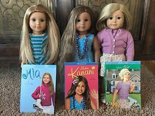 American Girl Dolls 3 Doll Lot Kanani,Kit,Mia,with books, shoes and clothing