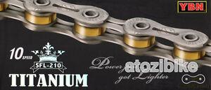 [US Seller] Super Lightweight YBN Titanium 10 Speed Bike Chain SFL 210 - Silver