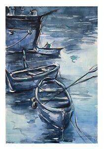 original painting A4 345VE art samovar watercolor boat sea Landscape Signed 2021