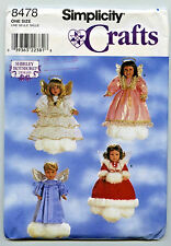 """SEWING PATTERN SIMPLICITY #8478 DOLL CLOTHES FOR 18""""  DOLLS  ANGEL DRESSES UC"""