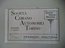 advertising Pubblicità 1911 SCAT SOCIETA' CEIRANO AUTOMOBILI TORINO