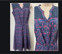 NEW RRP £38 Ex   Debenhams Mantaray Blue Plum Print Sleeveless Dress      (SS60)