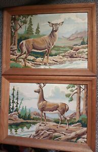 """Vintage 1960s DEER Stag Doe 12x16"""" Framed PAINT BY NUMBERS Lot Complete Painting"""