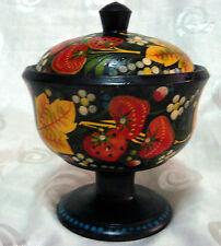 Vintage Russian Wooden Trinket Box Goblet With Lid Khokhloma Hand Painted