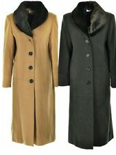 LADIES NEW WINTER WARM FUR COLLAR LONG COAT UK MADE SIZE 14 16 18 20 22 24