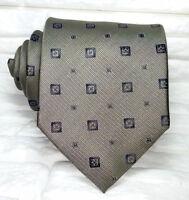 Necktie silk dark green Jacquard geometric Made in Italy TRE brand men's ties
