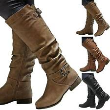 Women Lady Flat Heel Calf Long Riding Knee High Slouch Boots Comfy Shoes Size