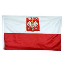 GIANT POLAND POLISH EAGLE FLAG POLISH STATE CREST NATIONAL 5 X 3FT 150*90cm  HOT