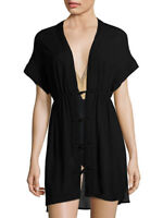 Paula Hermanny Vix Solid Fuji Caftan Black Beach Cover Up Sz Small NWT