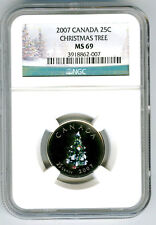 2007 CANADA 25 CENT NGC MS69 CHRISTMAS TREE QUARTER RARE TOP POP=8 NONE HIGHER