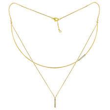 14k Yellow Gold 0.15ctw Diamond Trendy Two Layer Choker Bar Necklace Handmade US