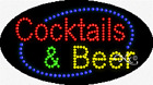 """NEW """"COCKTAILS & BEER"""" 27x15 OVAL SOLID/ANIMATED LED SIGN w/CUSTOM OPTIONS 24507"""
