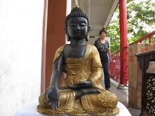 Tibet Tantric Buddhism Bronze Gilded Dragon Tathagata Shakyamuni Buddha Statue