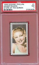 1936 Stars of the Screen Card #7 GINGER ROGERS Girl Crazy FORT WORTH Texas PSA 7
