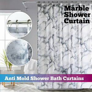 Vinyl Fabric Shower Curtain Grey White Marble 180 x 180 cm Mould & Mildew Proof