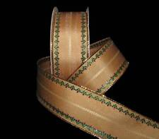 """5 Yards Gingerbread Brown Christmas Red Green Ornate Edge Wired Ribbon 1 1/2""""W"""