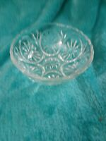 Vintage Clear Glass Serving Bowl With Starburst Design Scalloped Edges