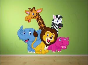 Zoo Animales Dormitorio Infantil Decoración Pared Adhesivo A TODO COLOR
