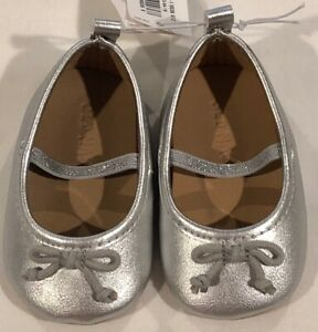 Old Navy Girls Silver Ballet Flats Size 3-6 Months Crib Shoes NWT LBB76