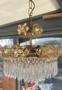 Vintage brass and crystal chandelier 120 droplets