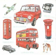 Lot de 4 Serviettes papier Icônes Londres Decoupage Collage Decopatch