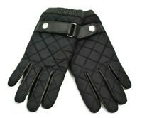14th & Union Puffer Moto Mens Gloves Gray Nylon Black Leather Back Strap