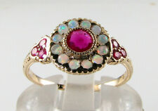 9K 9CT GOLD RUBY & AUS OPAL CLUSTER ART DECO INS BAND RING FREE RESIZE