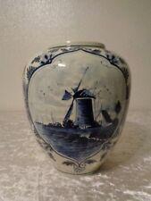 Keramik Vase - Holland - handgemalt - Höhe 21 cm - Windmühle
