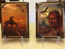 Beautiful Scafa-Tornabene Foil Art American Indians Wooden Wall Plaques X 2