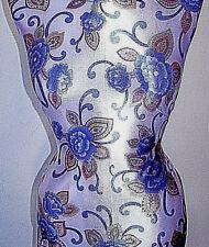 Muestra corte Royal Azul y Blanco Floral Lycra Tela Elástica 0.9m 33cm