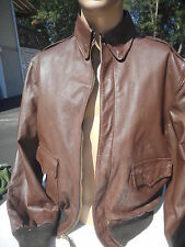 WW2 A-2 Leather Flight Jacket Reproduction Size 44 MFG ProTech