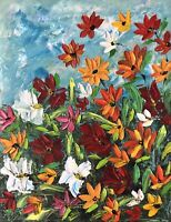 ORIGINAL Oil Painting Stretch Canvas 18 x 14 Palette Knife Flowers Art by Angela