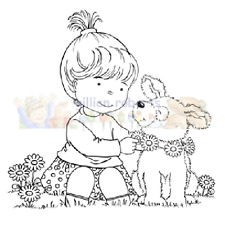 New Stampavie DAISY CHAIN Clear Stamp Girl Puppy Dog Flowers Friends Pet Spring