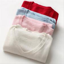 Women's V-neck Cashmere Blend Sweater Crewneck Knitted Sweaters Winter S-XXXL
