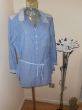 BNWT £35 ~ PER UNA ~ MARKS & SPENCER ~ BLUE & WHITE STRIPED SHIRT / BLOUSE ~ 20