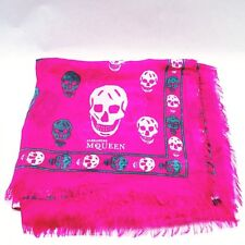 NWT Authentic Alexander McQueen Skull Scarf, Color Pink/Green/White MSRP $350